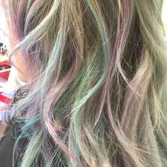 アッシュ カラーバター セミロング ガーリー ヘアスタイルや髪型の写真・画像