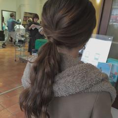 ヘアアレンジ ふわふわ ロング ローポニーテール ヘアスタイルや髪型の写真・画像