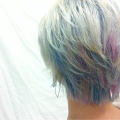 ショート カラフルカラー ダブルカラー ストリート ヘアスタイルや髪型の写真・画像