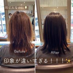 ミディアム 髪質改善トリートメント ナチュラル トリートメント ヘアスタイルや髪型の写真・画像