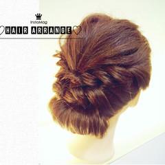 簡単ヘアアレンジ セミロング 編み込み ショート ヘアスタイルや髪型の写真・画像