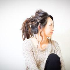セミロング ポニーテール ヘアアレンジ ショート ヘアスタイルや髪型の写真・画像