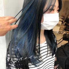ブルーブラック インナーカラー ブルージュ ブルーアッシュ ヘアスタイルや髪型の写真・画像