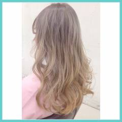 グラデーションカラー ロング ガーリー ゆるふわ ヘアスタイルや髪型の写真・画像