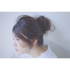 お団子 簡単ヘアアレンジ セミロング ヘアアレンジ ヘアスタイルや髪型の写真・画像