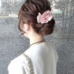 ナチュラル ヘアアレンジ セミロング ブライダル ヘアスタイルや髪型の写真・画像