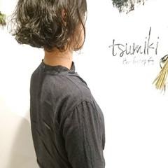パーマ 切りっぱなし ナチュラル ニュアンス ヘアスタイルや髪型の写真・画像