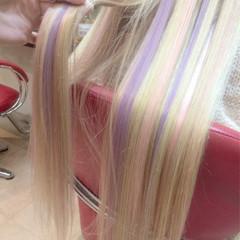 ハイトーン パステルカラー ミルクティー エクステ ヘアスタイルや髪型の写真・画像