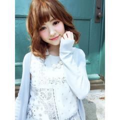 フェミニン ヘアアレンジ ミディアム ブラウン ヘアスタイルや髪型の写真・画像