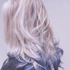 バレイヤージュ セミロング ストリート グラデーションカラー ヘアスタイルや髪型の写真・画像