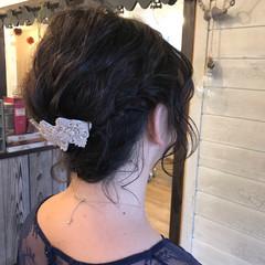 黒髪 簡単ヘアアレンジ 結婚式 フェミニン ヘアスタイルや髪型の写真・画像