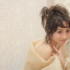 ミディアム お団子 かわいい 爽やか ヘアスタイルや髪型の写真・画像