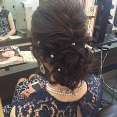 パーティ 編み込み ヘアアレンジ 結婚式 ヘアスタイルや髪型の写真・画像