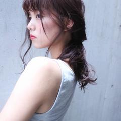 ナチュラル ヘアアレンジ くせ毛風 セミロング ヘアスタイルや髪型の写真・画像