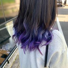 ロング ブルーバイオレット グラデーションカラー ハイトーンカラー ヘアスタイルや髪型の写真・画像