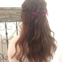 ハーフアップ ロング 簡単ヘアアレンジ 大人かわいい ヘアスタイルや髪型の写真・画像