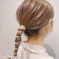 簡単スタイリング ヘアアレンジ 透明感カラー 切りっぱなしボブ ヘアスタイルや髪型の写真・画像