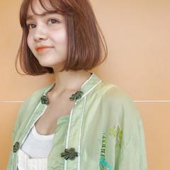 オレンジベージュ ナチュラル オレンジカラー ミニボブ ヘアスタイルや髪型の写真・画像