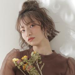 エレガント ミディアム ハイライト ヘアアレンジ ヘアスタイルや髪型の写真・画像