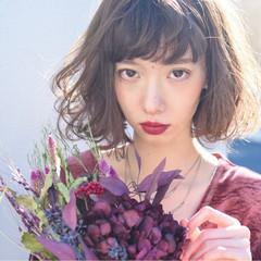 前髪あり 色気 ニュアンス パーマ ヘアスタイルや髪型の写真・画像