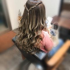 ロング 前髪アレンジ フェミニン ヘアアレンジ ヘアスタイルや髪型の写真・画像
