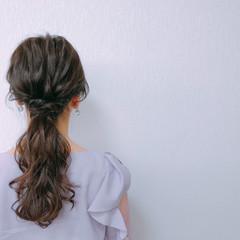 ロング ローポニーテール 結婚式 ヘアアレンジ ヘアスタイルや髪型の写真・画像