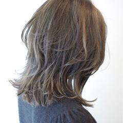 外国人風カラー ハイライト ロブ ミディアム ヘアスタイルや髪型の写真・画像