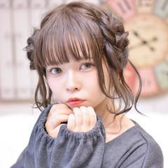 冬 簡単ヘアアレンジ ミディアム 編み込み ヘアスタイルや髪型の写真・画像