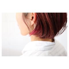 小顔 ショート ピンク こなれ感 ヘアスタイルや髪型の写真・画像