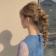 ロング 結婚式ヘアアレンジ ふわふわヘアアレンジ 編みおろしヘア ヘアスタイルや髪型の写真・画像