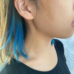 ミディアム ブリーチカラー インナーカラー ブリーチ ヘアスタイルや髪型の写真・画像