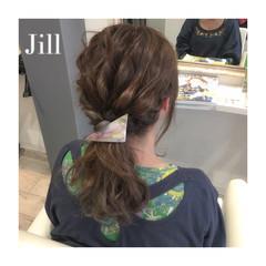 ポニーテール ショート セミロング 簡単ヘアアレンジ ヘアスタイルや髪型の写真・画像