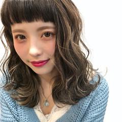 透明感 外国人風 ハイライト ミディアム ヘアスタイルや髪型の写真・画像
