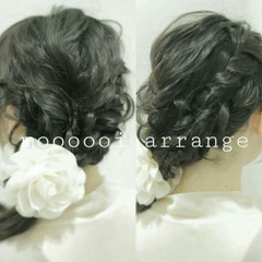 大人かわいい 波ウェーブ セミロング 編み込み ヘアスタイルや髪型の写真・画像