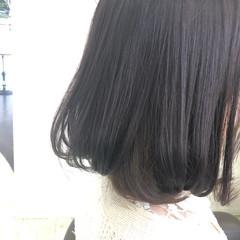 ボブ インナーカラーパープル フェミニン パープルカラー ヘアスタイルや髪型の写真・画像