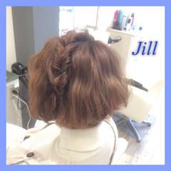 ショート 簡単ヘアアレンジ くるりんぱ 波ウェーブ ヘアスタイルや髪型の写真・画像