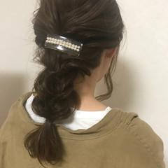 結婚式 グレージュ セミロング ヘアアレンジ ヘアスタイルや髪型の写真・画像