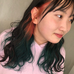 緑 ミディアム ストリート グラデーションカラー ヘアスタイルや髪型の写真・画像
