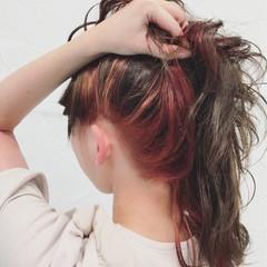 冬 ミディアム ボブ インナーカラー ヘアスタイルや髪型の写真・画像
