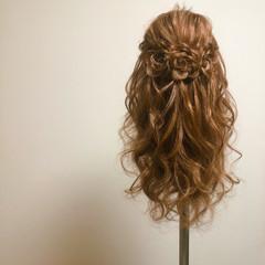 ヘアセット ガーリー 編み込み 編み込みヘア ヘアスタイルや髪型の写真・画像