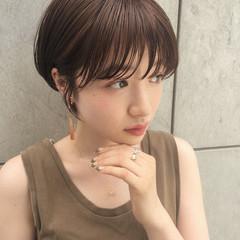 ひし形シルエット ショート ナチュラル ショートヘア ヘアスタイルや髪型の写真・画像