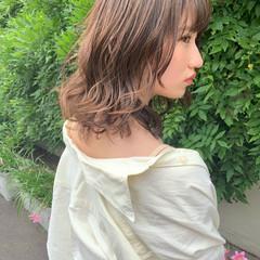 ヘアアレンジ パーマ 成人式 ミディアム ヘアスタイルや髪型の写真・画像