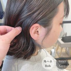 イヤリングカラーベージュ インナーカラー イヤリングカラー ナチュラル ヘアスタイルや髪型の写真・画像