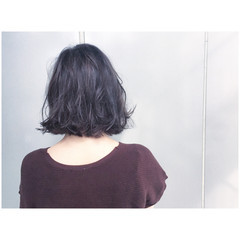グレーアッシュ ボブ グレージュ ストリート ヘアスタイルや髪型の写真・画像