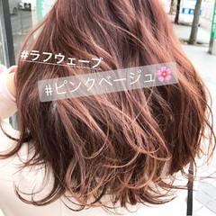 ピンク ラベンダーピンク 前髪あり ベージュ ヘアスタイルや髪型の写真・画像