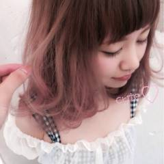 モテ髪 グラデーションカラー ゆるふわ ピンク ヘアスタイルや髪型の写真・画像