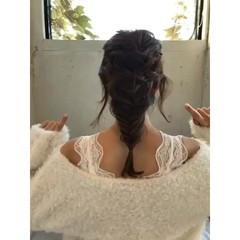 ミディアム 編み込み ゆるふわ フェミニン ヘアスタイルや髪型の写真・画像