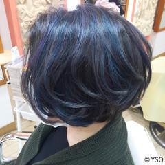 ショート ハイライト ブルー ストリート ヘアスタイルや髪型の写真・画像