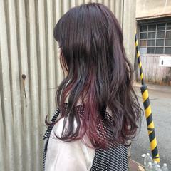 インナーカラー ガーリー ロング 春ヘア ヘアスタイルや髪型の写真・画像