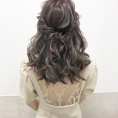 ミルクティーベージュ ヘアアレンジ セミロング ミルクティー ヘアスタイルや髪型の写真・画像